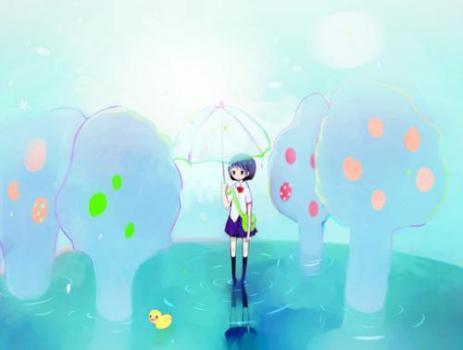 雨中风景图卡通